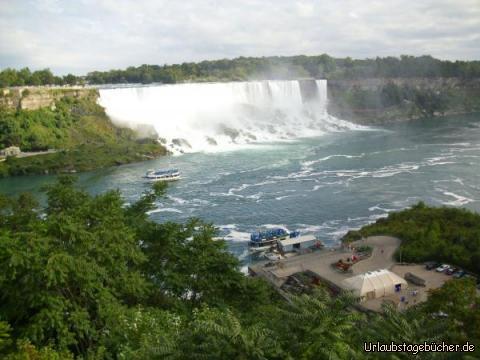 US-amerikanischer Niagarafall: dass das Wasser beim US-amerikanische Teil der Niagarafälle 21 m tief fällt, ist ironischer Weise nur von kanadischer Seite aus gut zu sehen