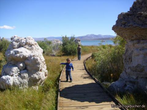 Steg zum Mono Lake: ein langer Steg führt uns ans Ufer des kalifornischen Mono Lake, der besonders für seine bizarren Kalkformen bekannt ist, durch die wir hindurch spazieren und auf die Viktor hier gerade zeigt